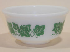 "VINTAGE ANCHOR HOCKING IVY GREEN LEAVES MIXING BOWL 8""  INCHES MILK GLASS"