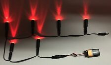 6 LED lights Daisy Chain 6 Red w/ 9 volt battery clip Micro Effects Scenery MEL