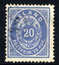 ICELAND 1885 20 aurar grey-blue, used