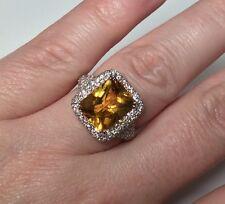 Estate 14K White Gold 7 CTW Citrine & Diamond Ring 6.5 Grams Size 6.5