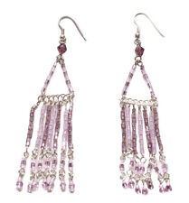 Gorgeous-pink Shaded Beads Triangle & Fringe/dangler Chrome Hook Earrings(Zx205)