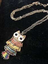 "VINTAGE REPRODUCTION OWL 🦉 PENDANT STONE BLACK EYES NECKLACE CHAIN 18"" Long"