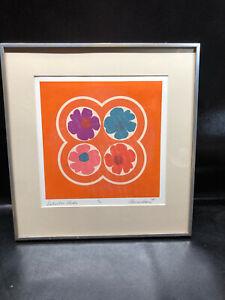 "Vtg Original Silk Screen Print Flowers 1968 Framed 20""x21"" Orange Blumenbaum"