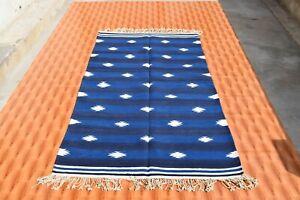 3'x6' Cotton Floor Carpet Kelim 110x190 Afghan Multi-color Kilim Rug Hand Woven