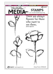 """Dina Wakley Media Cling Stamps 6""""X9""""-Always Flowers"""
