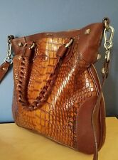 NEW  FALOR Brown WOVEN Croc Embossed  Leather Tote,Shoulder Bag