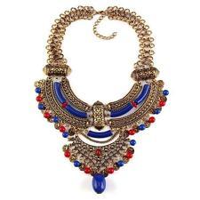 Beautiful Vintage Bohemian Choker Bib Necklace Dark Blue/Gold Free Shipping