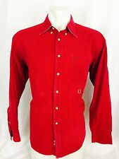 Vintage 1990's Tommy Hilfiger Red Corduroy Button Shirt Long Sleeved Large Mens