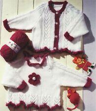 (597) GIRLS CARDIGAN & TUNIC, Lace/ Flower, DK KNITTING PATTERN