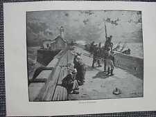 Seefahrer Fischer Seenot Sturm Leuchtturm Original HOLZSTICH von 1889