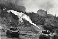 "WWII photo American flamethrower tank M4 ""Sherman"" is firing on Okinawa war 8o"