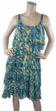 Signature by Robbie Bee Chiffon Ruffle Cocktail Dress Gold Turquoise Sz 10 $89