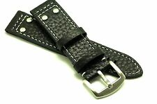 22mm Black Quality Rivet Style Buffalo-Grain Leather Contrast Stitch Watch Band
