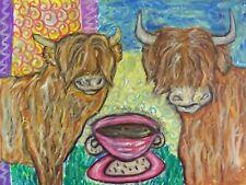 SCOTTISH HIGHLAND CATTLE Drinking Coffee Farm Vintage Art Print 8 x 10 Signed