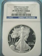 2007 W AMERICAN SILVER EAGLE NGC PF70 ULTRA CAMEO EARLY RELEASES WEST POINT MINT