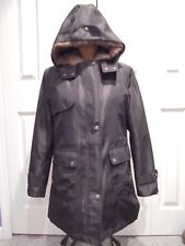 WOMENS BLACK WINTER / JACKET COAT WITH DETACHABLE FAUX FUR LINING NEVER WORN MED