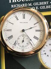 ANTIQUE WALTHAM POCKET WATCH ENAMEL DIAL GOLD FILLED SERVICED 43mm Look
