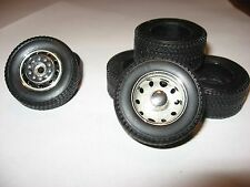 RUBBER/RESIN BIG RIG FRONT and REAR SINGLE WIDE TIRES 1/24