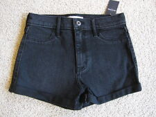 NWT ABERCROMBIE & FITCH KIDS GIRLS HIGH RISE BLACK DENIM SHORTS SIZE 16