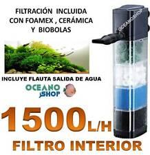 FILTRO INTERIOR 1500L/H 19W ACUARIO Filtración de FOAMEX + CERAMICA + BIOBOLAS