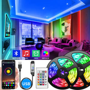 130 ft USB Bluetooth LED Strip Light 5050 SMD Flexible LED Lamp Tape RGB Lights