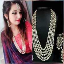 Indian Bollywood Bridal Long Pearl Rhinestone Long String Necklace & Earring Set