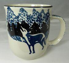 "Tienshan Wolf Coffee Mug Cup Folk Craft Blue Black Sponge Paint Art 3.75"""