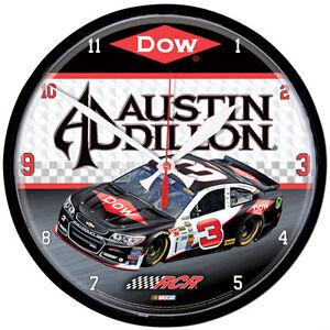 "AUSTIN DILLON #3 DOW RACING NASCAR 12"" ROUND QUARTZ CLOCK RCR"