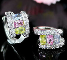 3 Carat Multi-color Topaz Huggie Earrings SE256
