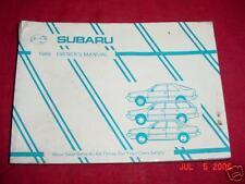 1989  Subaru  Owners Manual