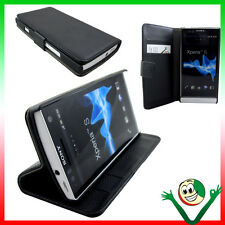 Custodia NERA in pelle per Sony XPERIA S LT26i stand up BOOKLET libretto morbido