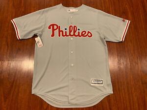 Majestic Cool Base Men's Philadelphia Phillies Gray Jersey Medium M MLB Baseball