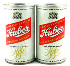 Qty. 2 Huber Beer Can Cans Steel Bottom Opened 1970's Vintage Free Shipping