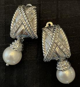 HUGE Judith Ripka Sterling Diamonique Clip Drop Earrings Removable Pearls