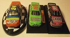 3 race cars 1:43 scale on bases Gordon-Labonte and Burton