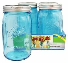 Box New 4 Ball Mason Blue Quart Jars & Lids Canning Wedding Preserving BPA FREE