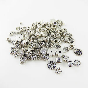Lot of 100 Vintage Silver Flower Beads Bails Connectors Assorted Jewelry Craft