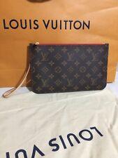Authentic 2019 Louis Vuitton Monogram Neverfull MM Pochette Wristet Red Interior