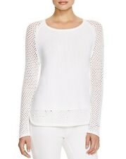 NEW $405 Moncler Women Authentic White Knitted Mesh Sweater, Size M
