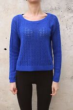 Hollister ladies Jumper Knit Sweater Royal Blue Ladies Cotton/Nylon Top Rabbit L