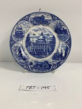 Historical Blue Staffordshire State Capitol Boston Dinner Plate