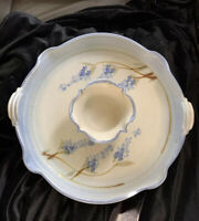 Salado Hand Thrown Pottery Chip And Dip Bowl blue floral