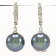 14k White Gold &12 Diamonds C Hoop Earrings; AAA 10.5mm Black Cultured Pearl TPJ