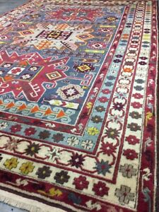 Old Used Antique Handmade Kazak Wool Rug Carpet,Shabby Chic,Size:6.6 By4.5 Ft