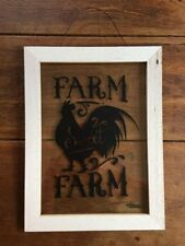 Rustic Chic Farmhouse Shiplap Sign Rooster Farm Sweet Farm Primitive Picture
