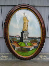 Vintage Outsider Reverse Painting~Statue of Liberty~Curved Glass 13 3/4~19 3/4