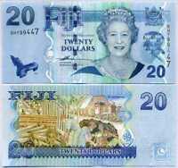 FIJI 20 DOLLARS ND 2007 P 112 QE II UNC