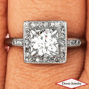 Antique Deco 1.18ct Diamond Platinum Lovely Cluster Engagement Ring NR