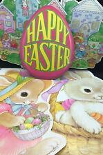Lot of 4 Vtg Easter Diecuts Decorations Beistle Paper Ephemera Egg Bunny Basket