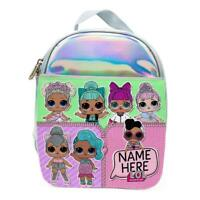 Personalised Girls Lunch Bag LOL DOLLS Holographic Shiny Silver School Box KS118